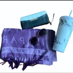 Marble cup purple scarf sunglass wallet bundle
